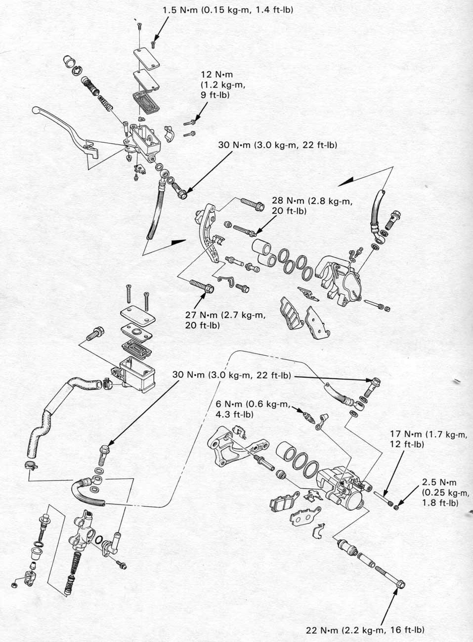 honda nt650 service manual  section 14  hydraulic brakes